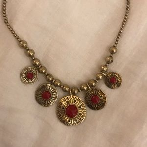 LUCKY BRAND gold and red necklace